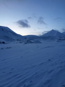 A glimpse of light in white and quiet Svalbard in February